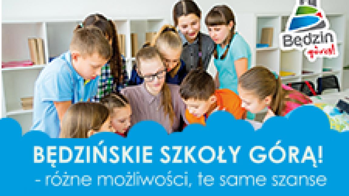 Ilustracja z napisem Będzińskie Szkoły Górą na tle dzieci