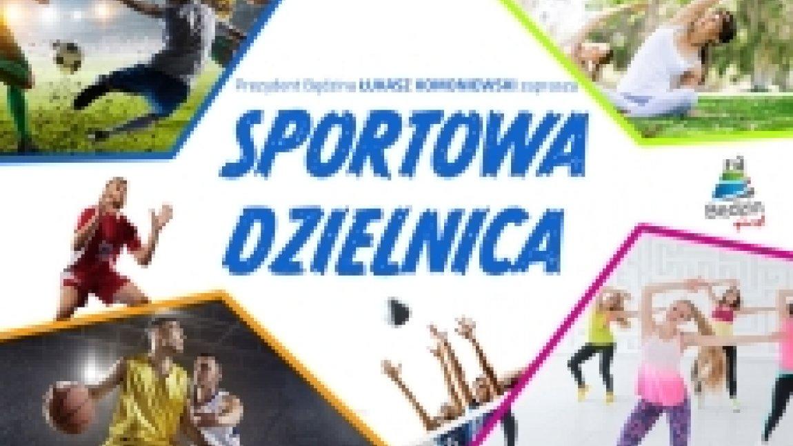 Ilustracja z napisem Sportowa dzielnica na tle zdjęć osób uprawiających sport