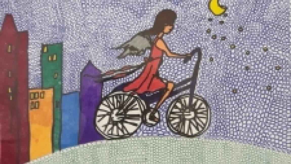 Grafika przedstawiająca anioła jadącego na rowerze