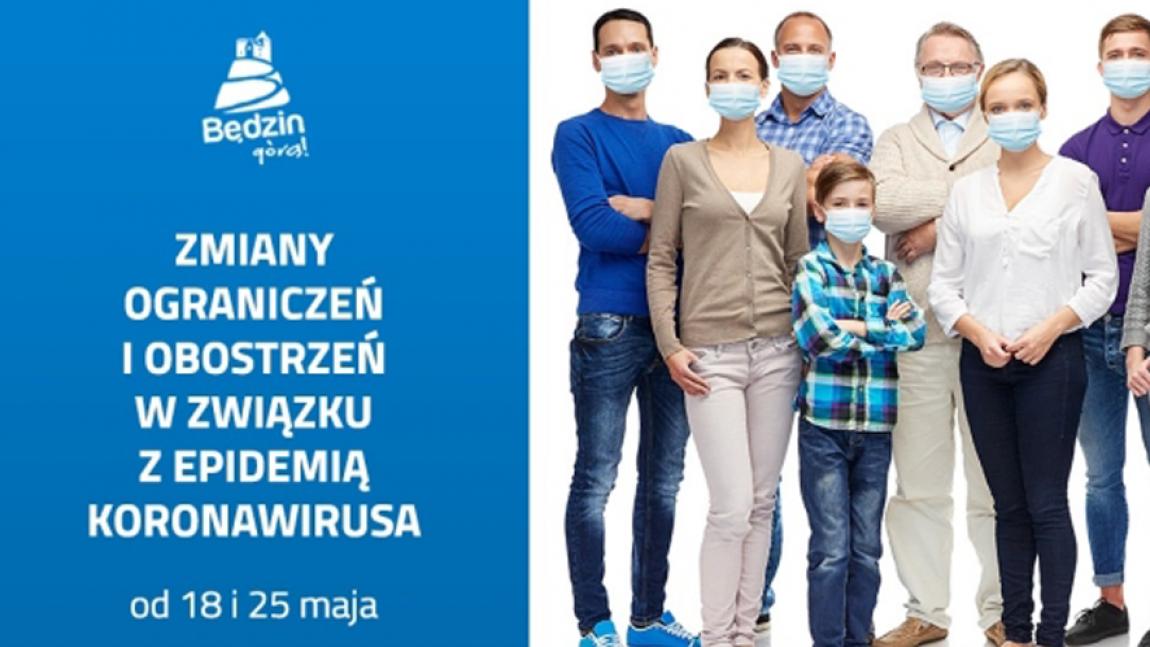 Ilustracja przedstawiająca ludzi w maseczkach oraz napis zmiany ograniczen i obostrzeń w związku z koronawirusem