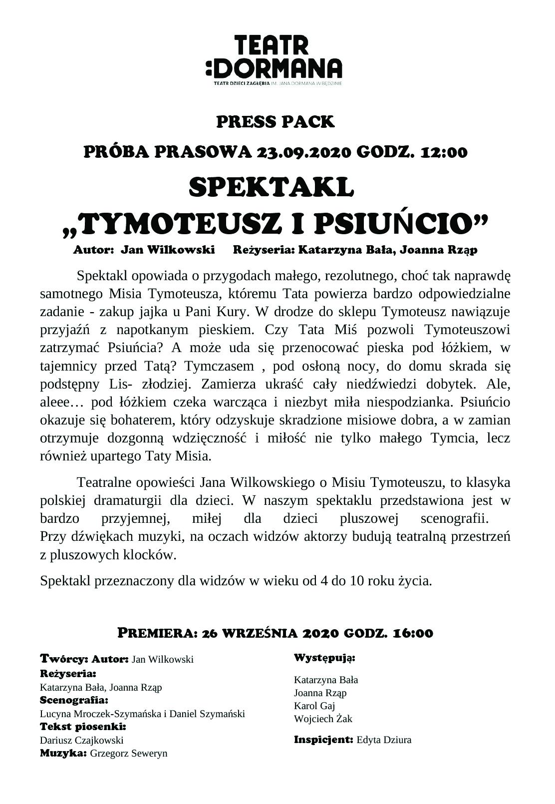 Plakat informujący o spektaklu