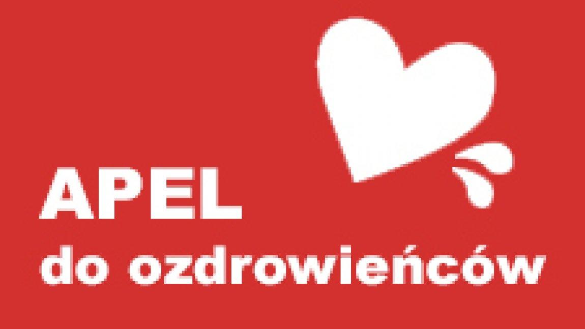 ilustracja z napisem Apel do ozdrowieńców na czerwonym tle z białym sercem i dwoma kroplami