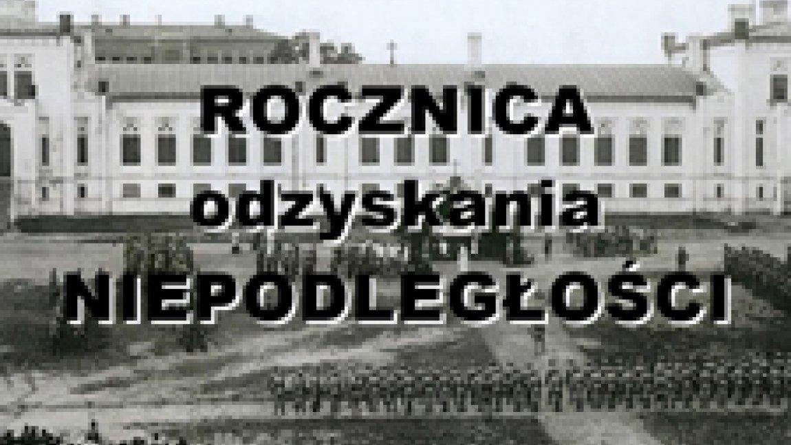 """Strona tytułowa prezentacji multimedialnej """"Rocznica odzyskania Niepodległości"""""""