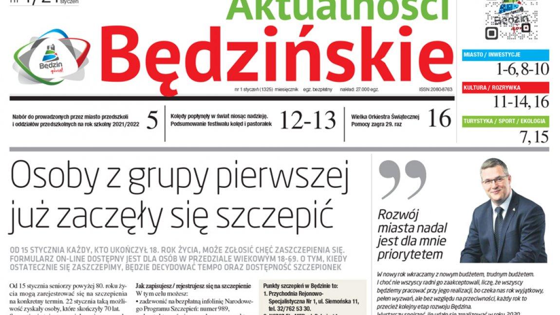 Ilustracja przedstawiająca fragment pierwszej strony Aktualności Będzińskich