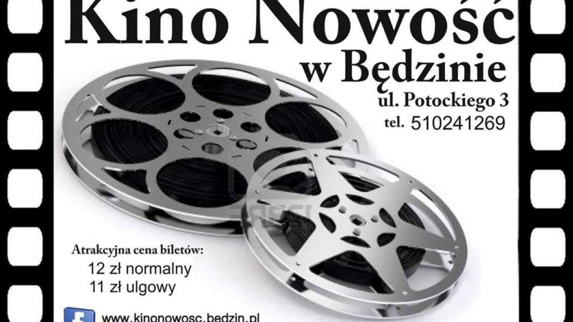 Ilustracja z napisem Kino Nowość w Będzinie z taśmami filmowymi