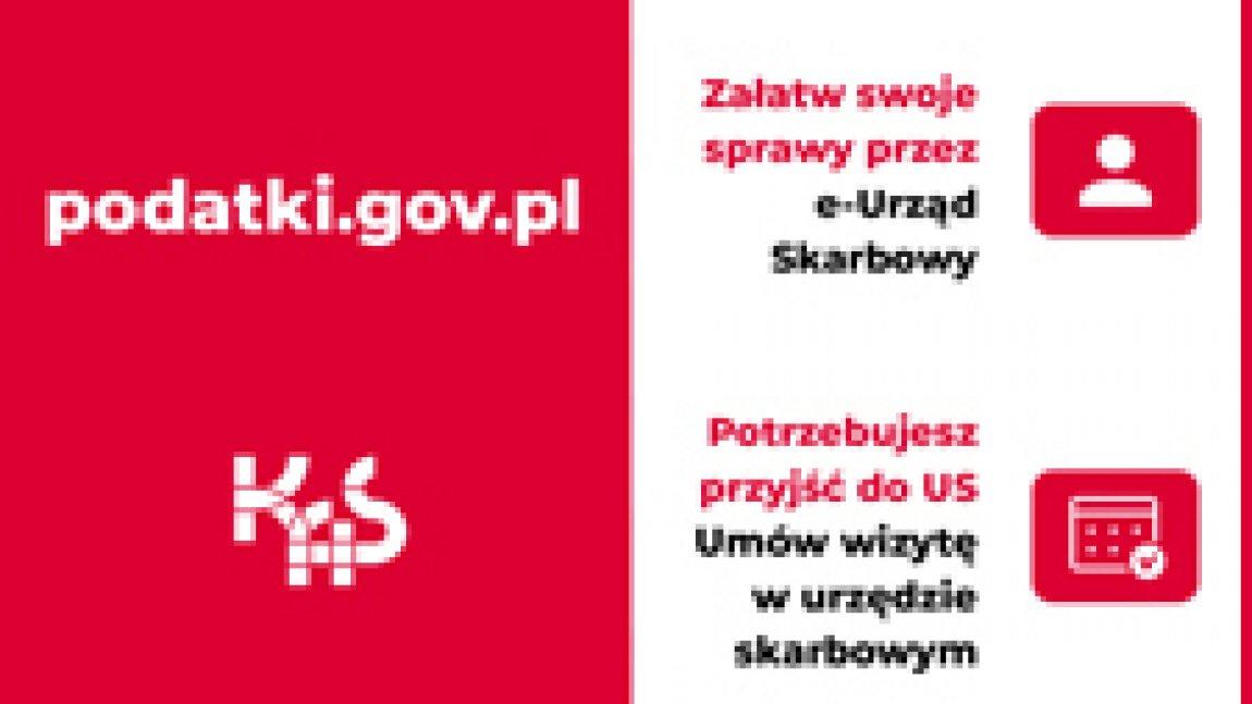 Ilustracja w kolorystyce czerwono-białej z napisami. Po lewej napis podatki.gov.pl