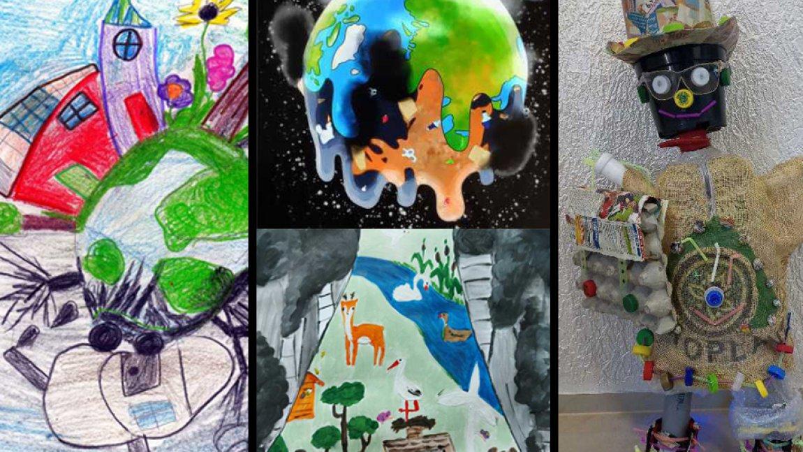 Ilustracja przedstawiająca nagrodzone prace dzieci