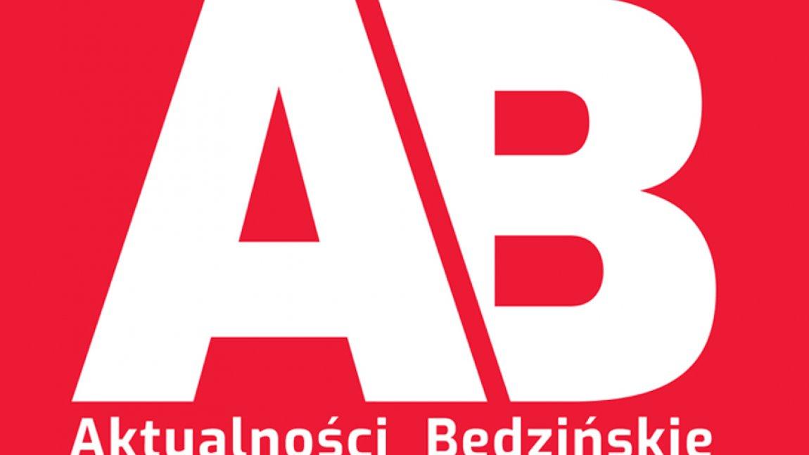 Logo Aktualności Będzińskich AB na czerwonym tle