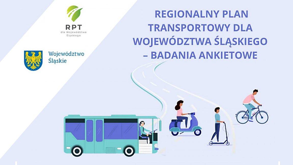 Grafika przedstawiająca schematyczne rysunki ludzi poruszających się na rowerze, hulajnodze i skuterze, obok autobus oraz napisy i logotypy
